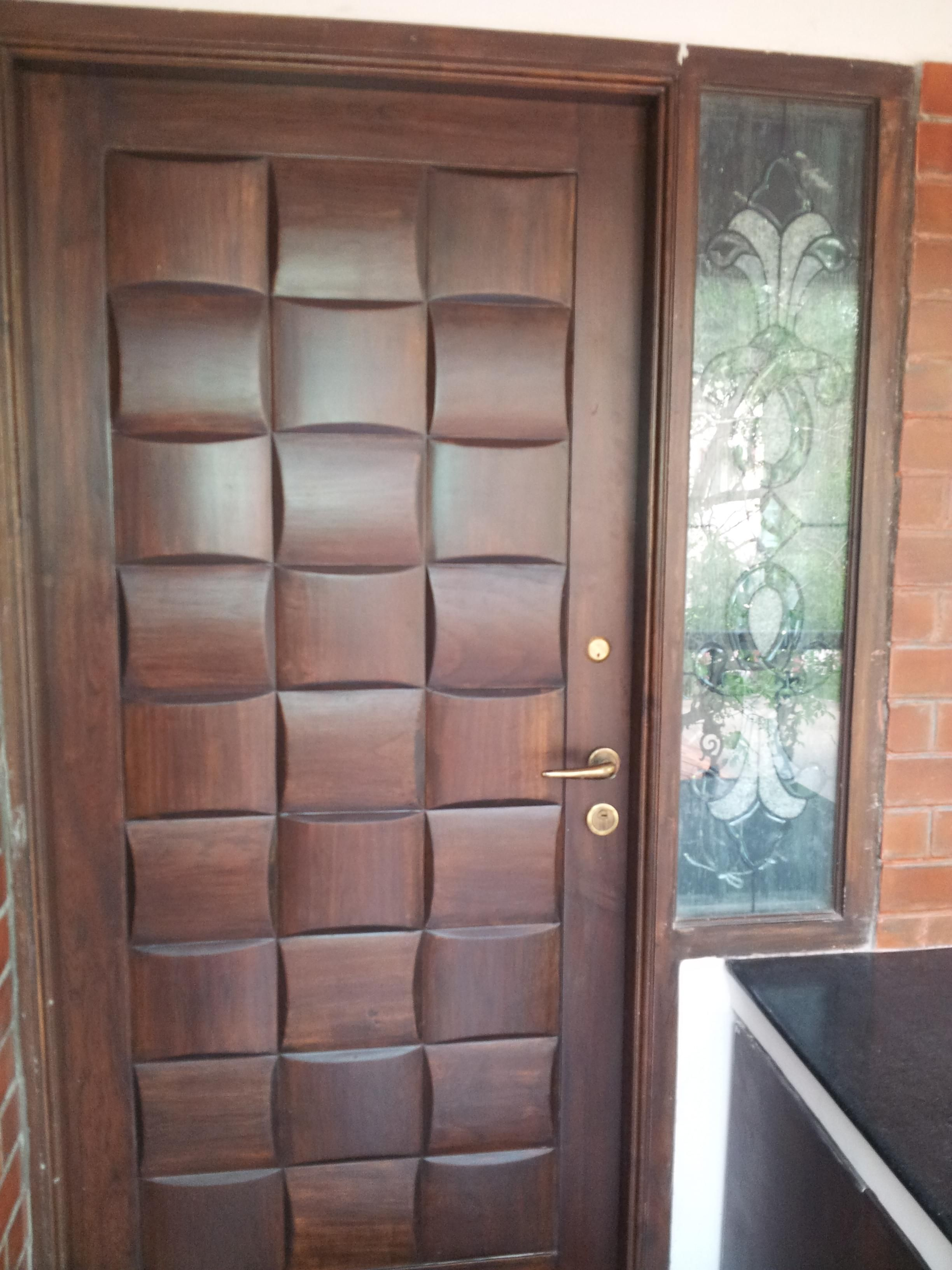 exterior design: brilliant double frosted lite single swing door