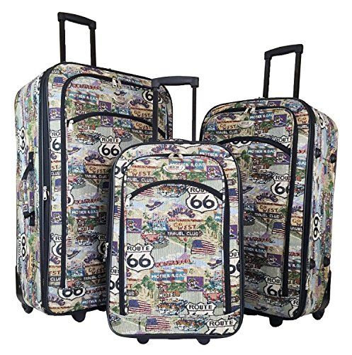 58747b846 3pc Luggage Set Travel Bag Rolling Wheel Carryon Expandable Upright Route  66 >>> Click on the image for additional details.