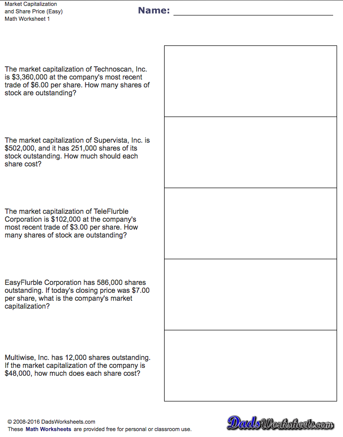 This Page Contains Links To Free Math Worksheets For Investing