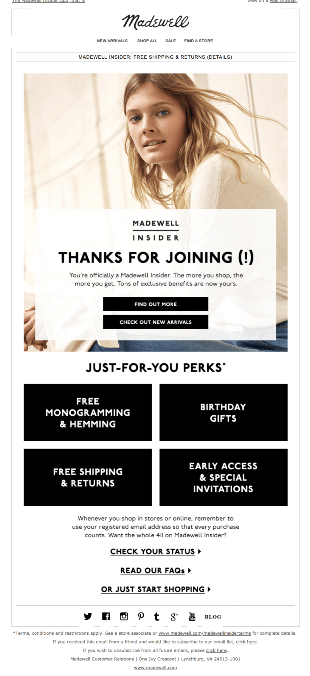 Madewell Welcome Email Example Email Marketing Examples Email