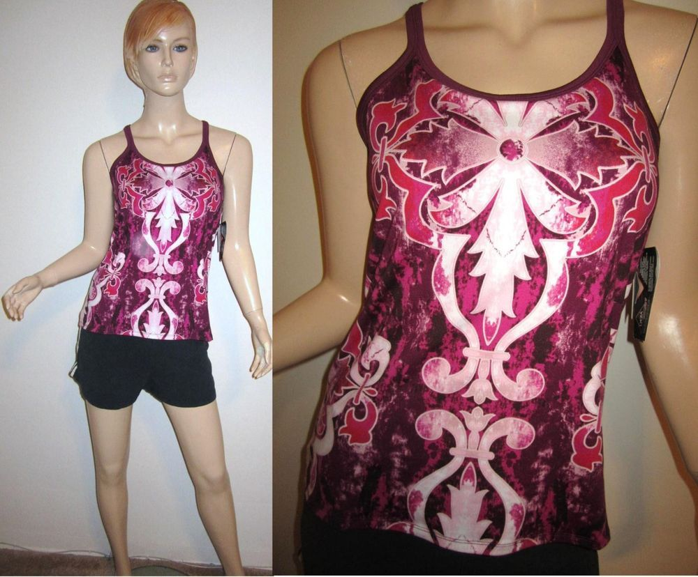 NWT ATHLETA Pavitra Racerback Baroque Paisley Print Purple Top Yoga Tank M