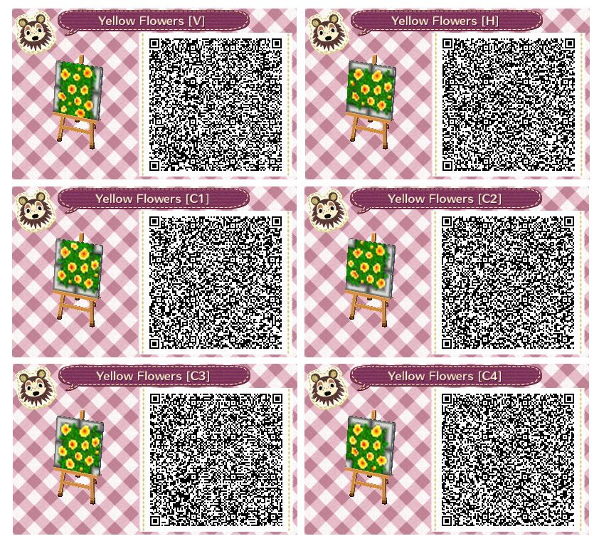 Yellow Flower Beds By Quirkberry Animal Crossing New Leaf Animal Crossing Qr Codes Animals Qr Codes Animal Crossing