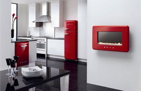 black and white kitchen with red accents. a little colour goes a