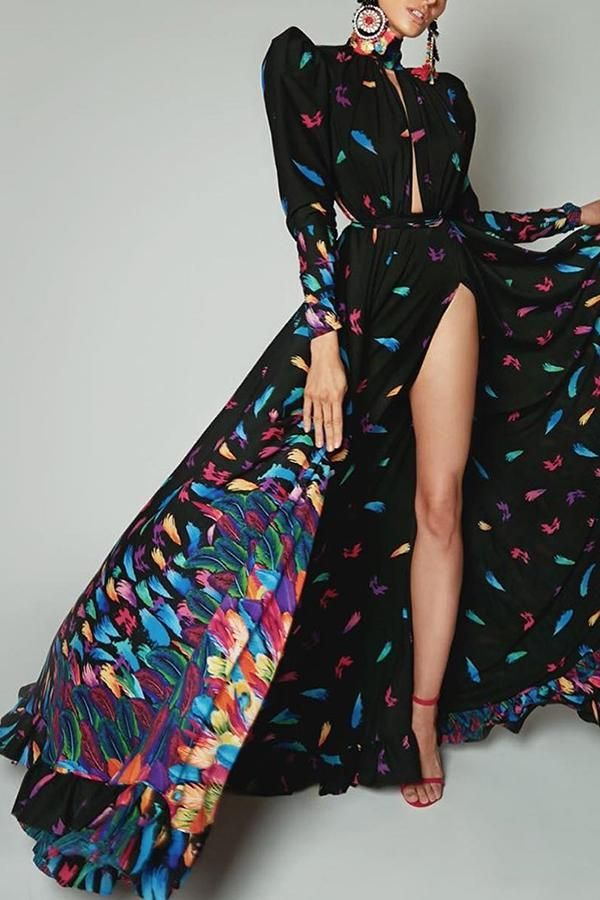 ac26eb4c57 2019 的 Sexy color feather Printed Long Sleeve maxi dress ...