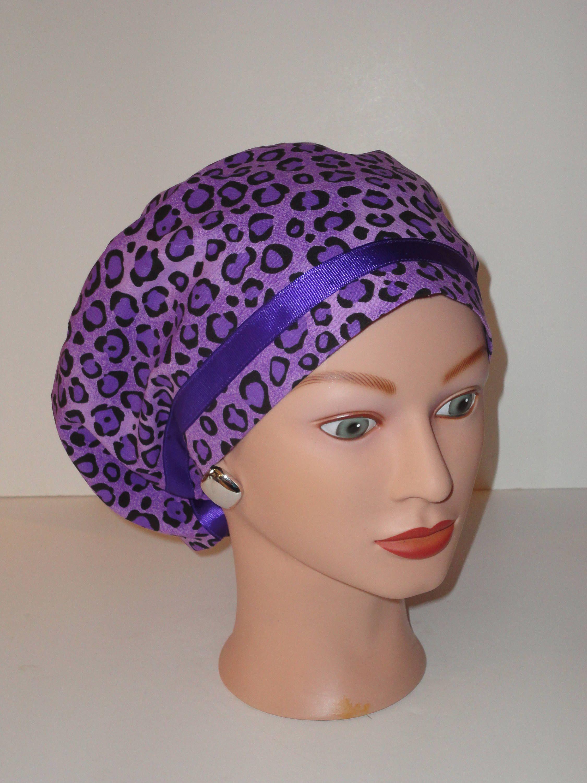 Purple Cheetah Print Scrub cap