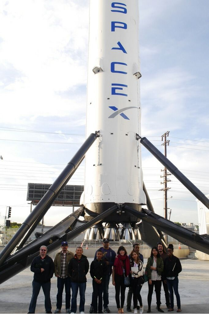 """stuckinfourthgrade: """"here is a picture of our team during our tour of spaceX! """" South Park team at SpaceX HQ"""