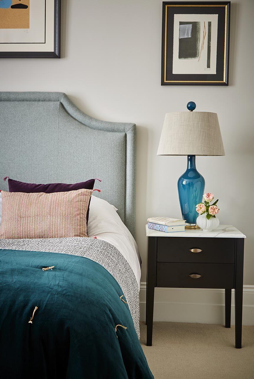 Master bedroom, with bespoke headboard. Contrasting tones ...