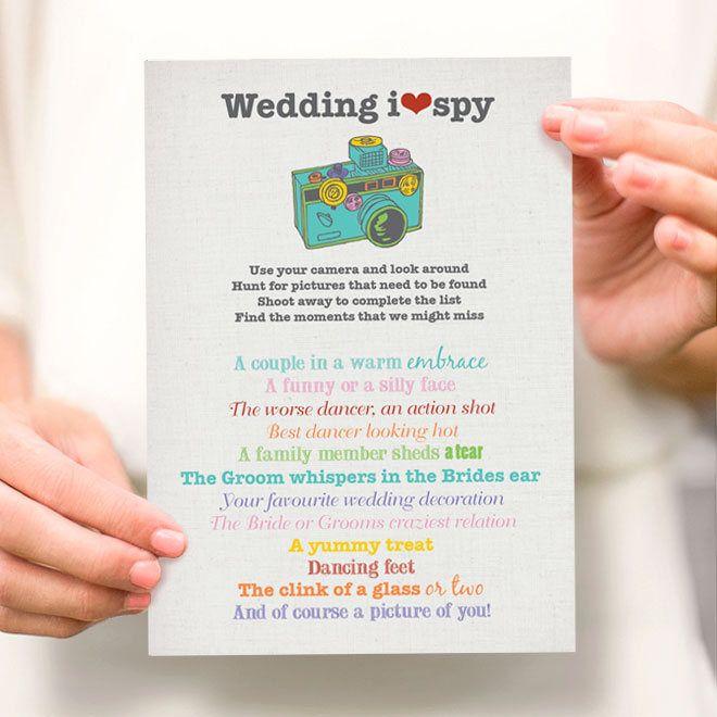 i spy wedding  printable party file  wedding reception