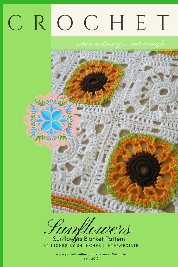 Crochet Broomstick Granny Square PDF ePattern, Sunflower for Afghan ...