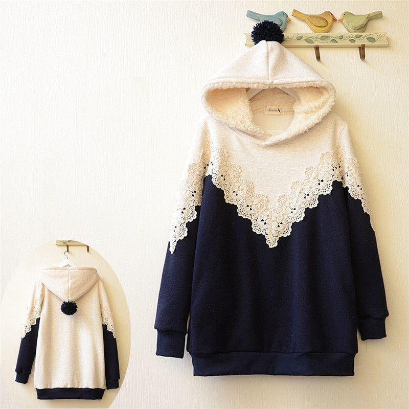 Fashion students hooded fleece pullover Cute Kawaii Harajuku Fashion