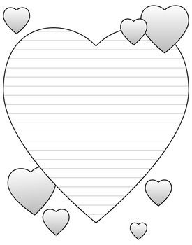 Heart Shaped Writing And Doodling Paper For Valentine S Day Free