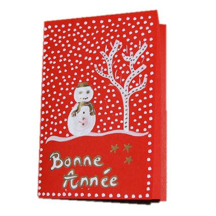 Fabuleux Carte de voeux : bonhomme de neige sur fond rouge | Carte de voeux  LU92