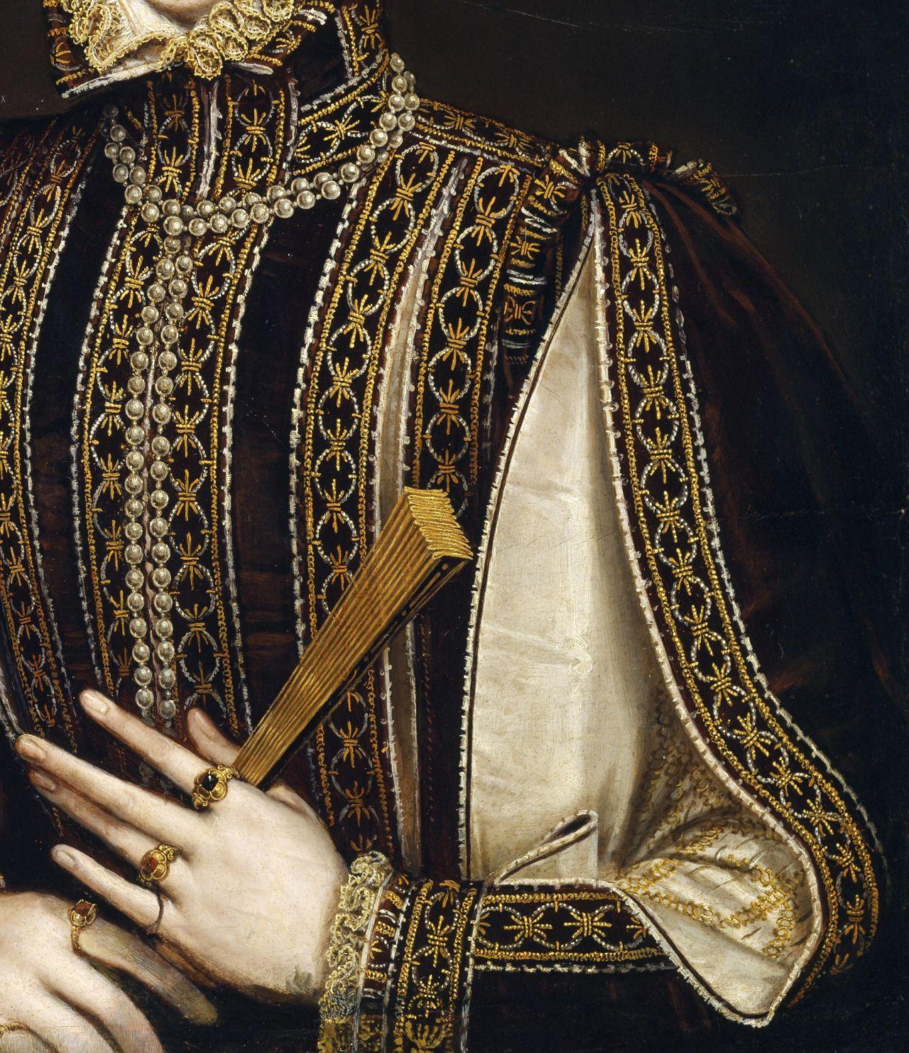 La dama del abanico (detail), Alonso Sánchez Coello.Between 1570 and 1573, oil on panel.Museo del Prado.