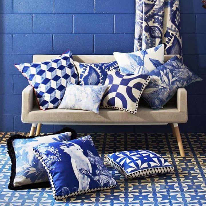 Bonnie And Neil Blue Tumbling Blocks Cushion Home