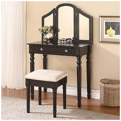 Trifold Mirror Black Vanity with Stool at Big Lots tay room