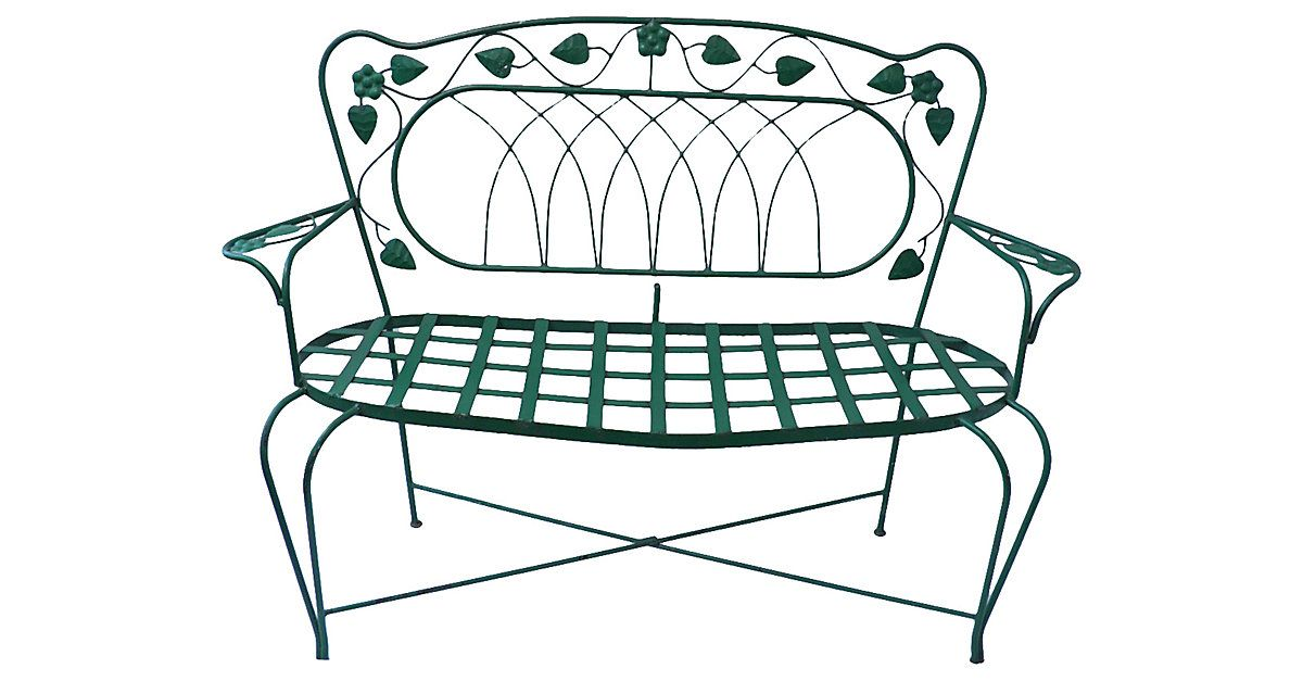 Mexican Wrought Iron Outdoor Bench In A Gorgeous Green Finish With