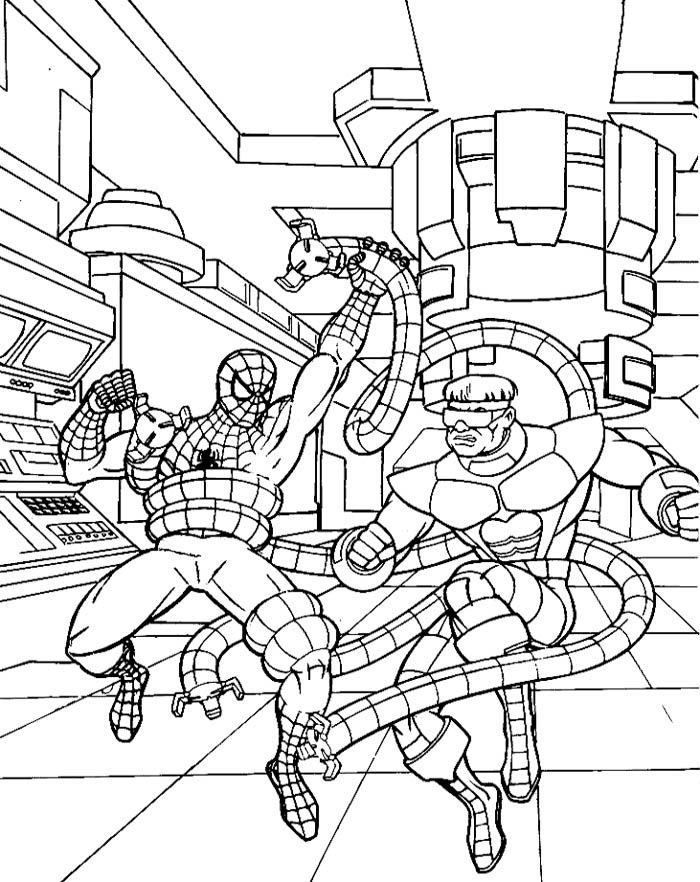Spiderman Fighting With Octupius Coloring Page | Kids ...