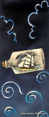 "LORNA NEARY London Hand Painted 100% Silk Tie Navy, With ""Ship In A Bottle"" Art"