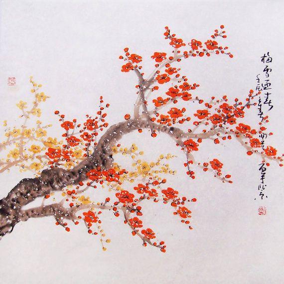 Original Painting Chinese Art Lovely Cherry Blossom Tree By Art68 218 00 Chinese Art Blossoms Art Cherry Blossom Painting