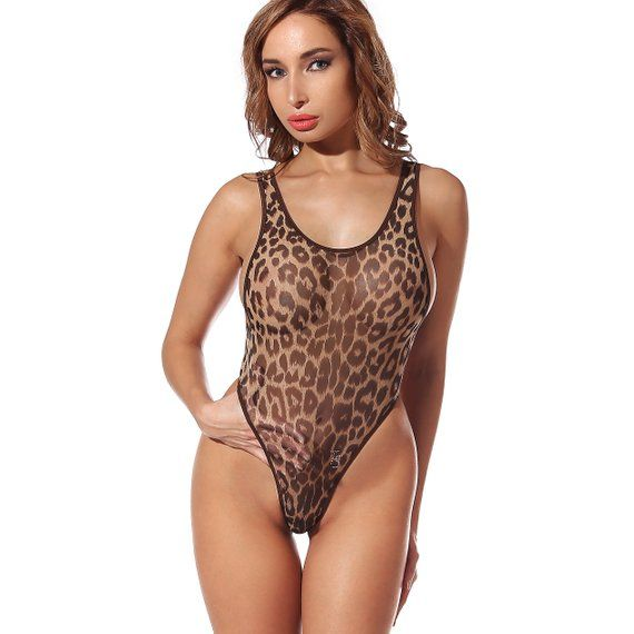 6da8fc3dd4d Erotic Transparent One Piece Swimsuit Bodysuit Bathing Suit Monokini Swimwear  Hot Thong High Cut Leg