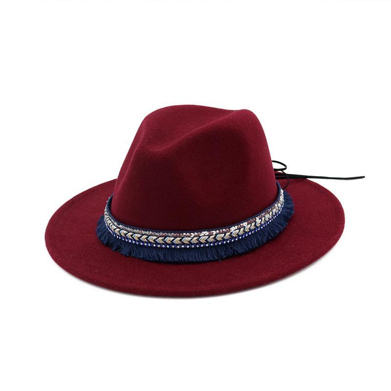 High Quality Wide Flat Brim Wool Felt Formal Party Trilby Fedora Hat  Fashion Women Lady Jazz 74880c356050