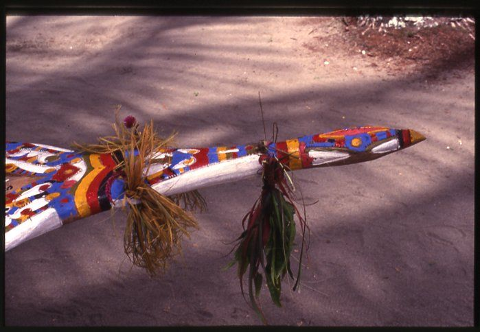 Bow of a canoe, decorated with plants and flowers, and painted designs; Warapu, Papua New Guinea.  1992