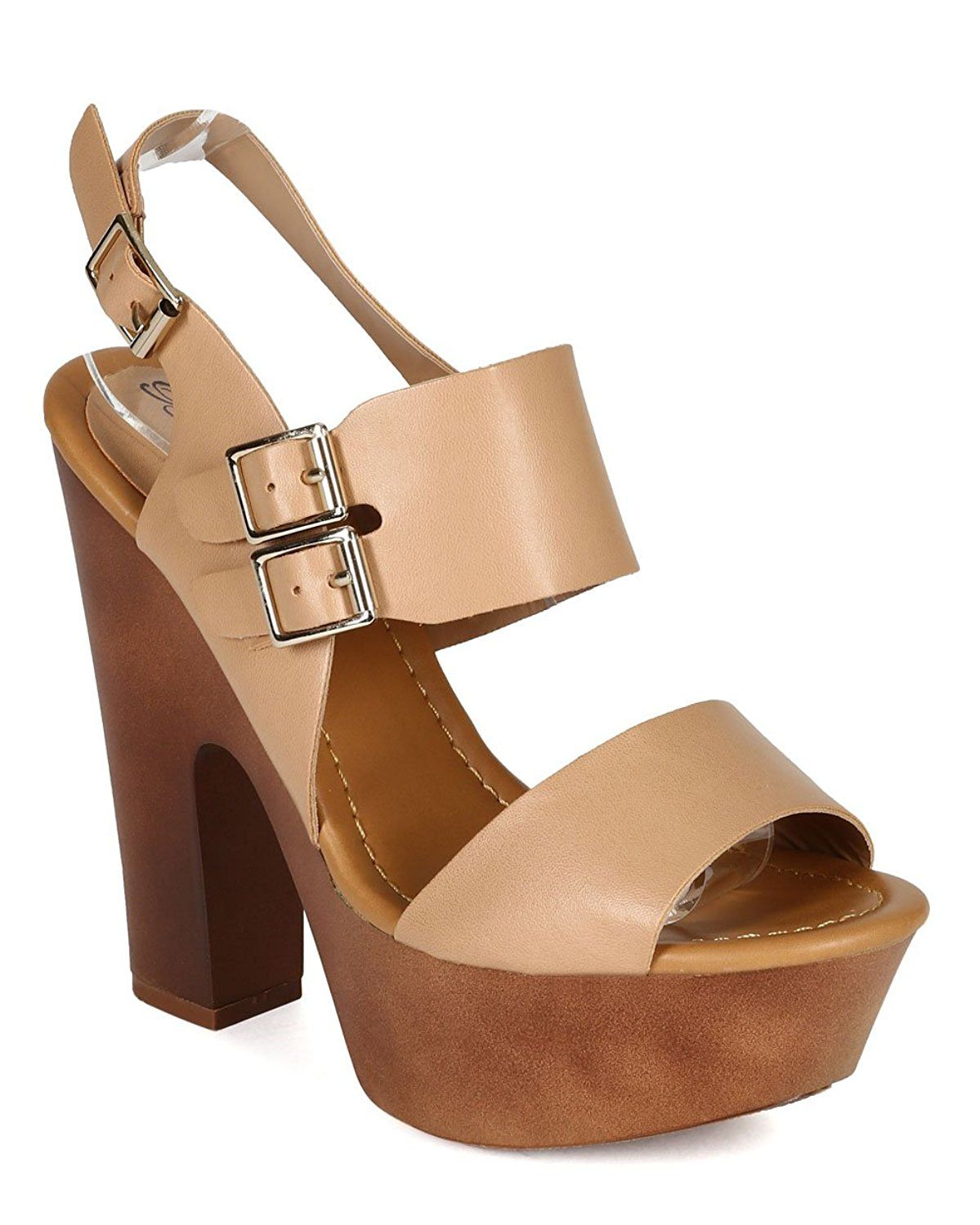 62a2f4e05b4 Breckelles CB81 Women Leatherette Open Toe Double Band Slingback Chunky  Heel Platform Sandal - Natural    Details can be found   Sandals