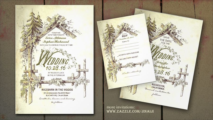 Enchanted Forest Themed Wedding Invitations: The Barn Wedding Invites With Old Farmhouse And Trees