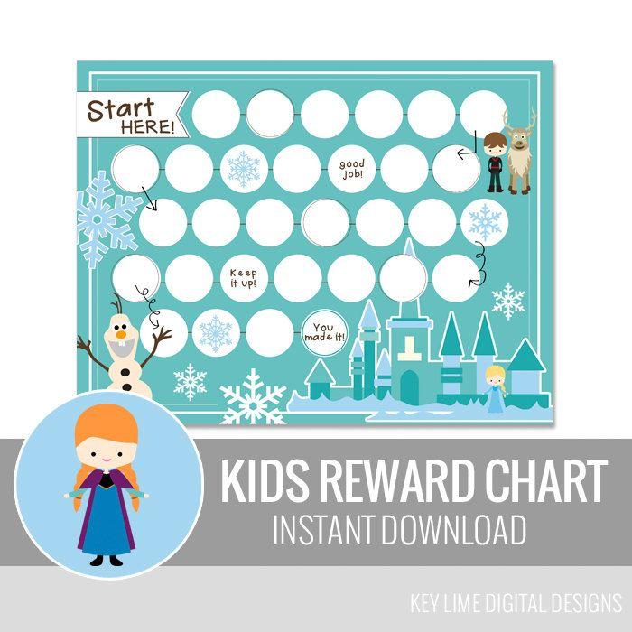 Kids Reward Chart Snow Princess Printable Behavior By Keylimedd
