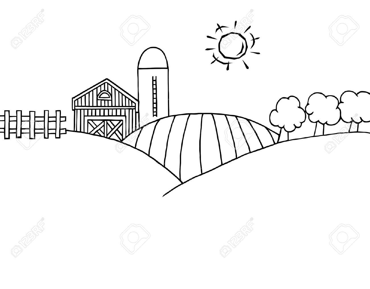 Stock Vector Black White Landscape Black White Cartoon Farm