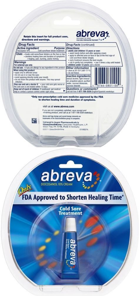 Cold Sores Abreva Fda Approved Cold Sore Treatment Docosanol 10