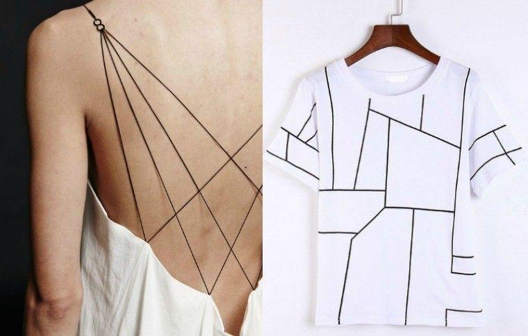 mode géométrique robe t-shirt imprimé géométrique design