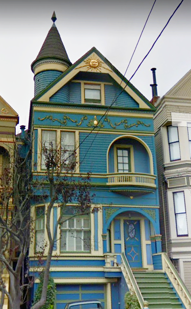 Beautiful Blue And Golden Cream Victorian Era Painted Lady House I