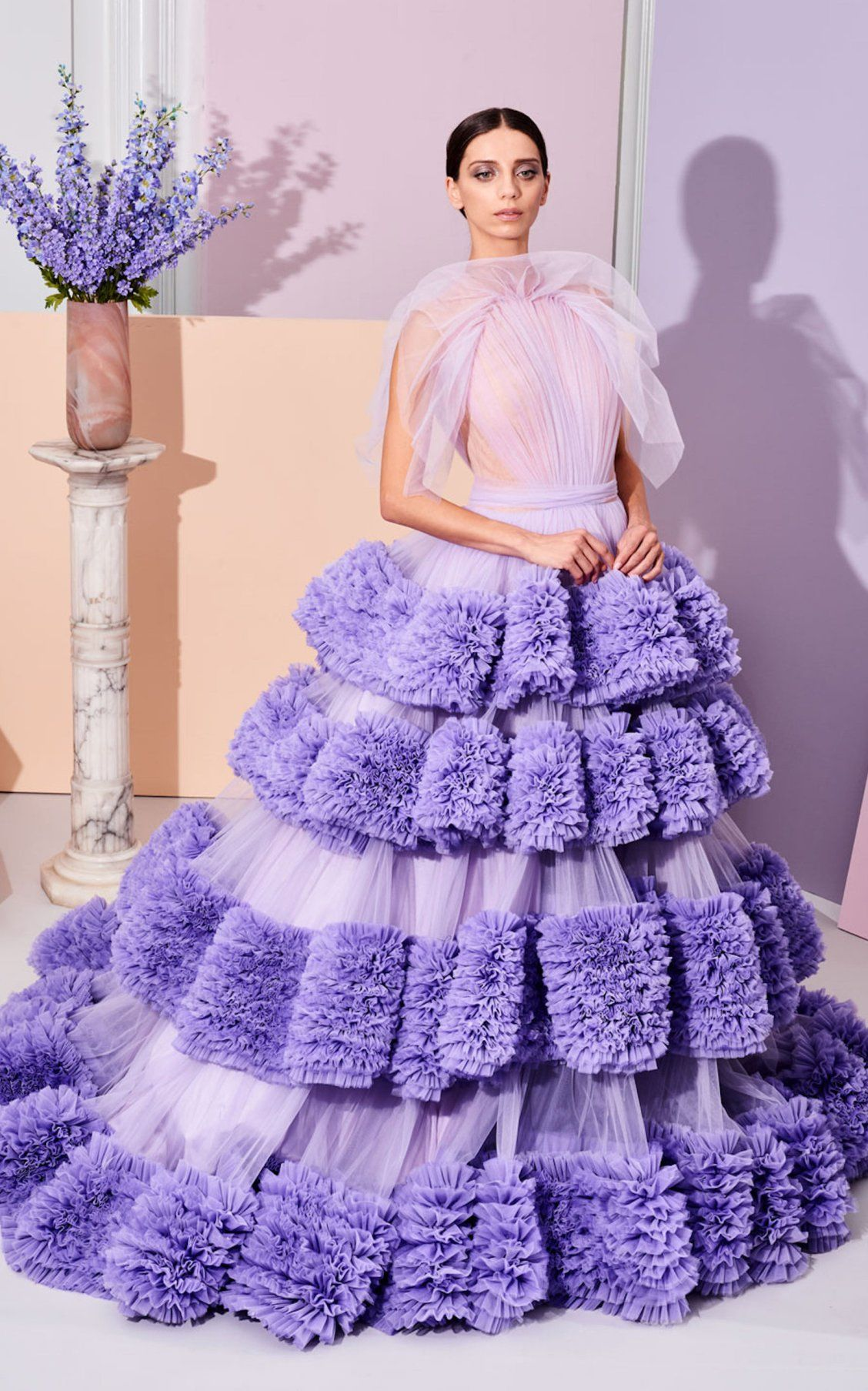 Tiered Rushed Tulle Ball Gown With Draped Bodice By Christian Siriano Pf19 Moda Operandi Ball Gowns Gowns Fashion