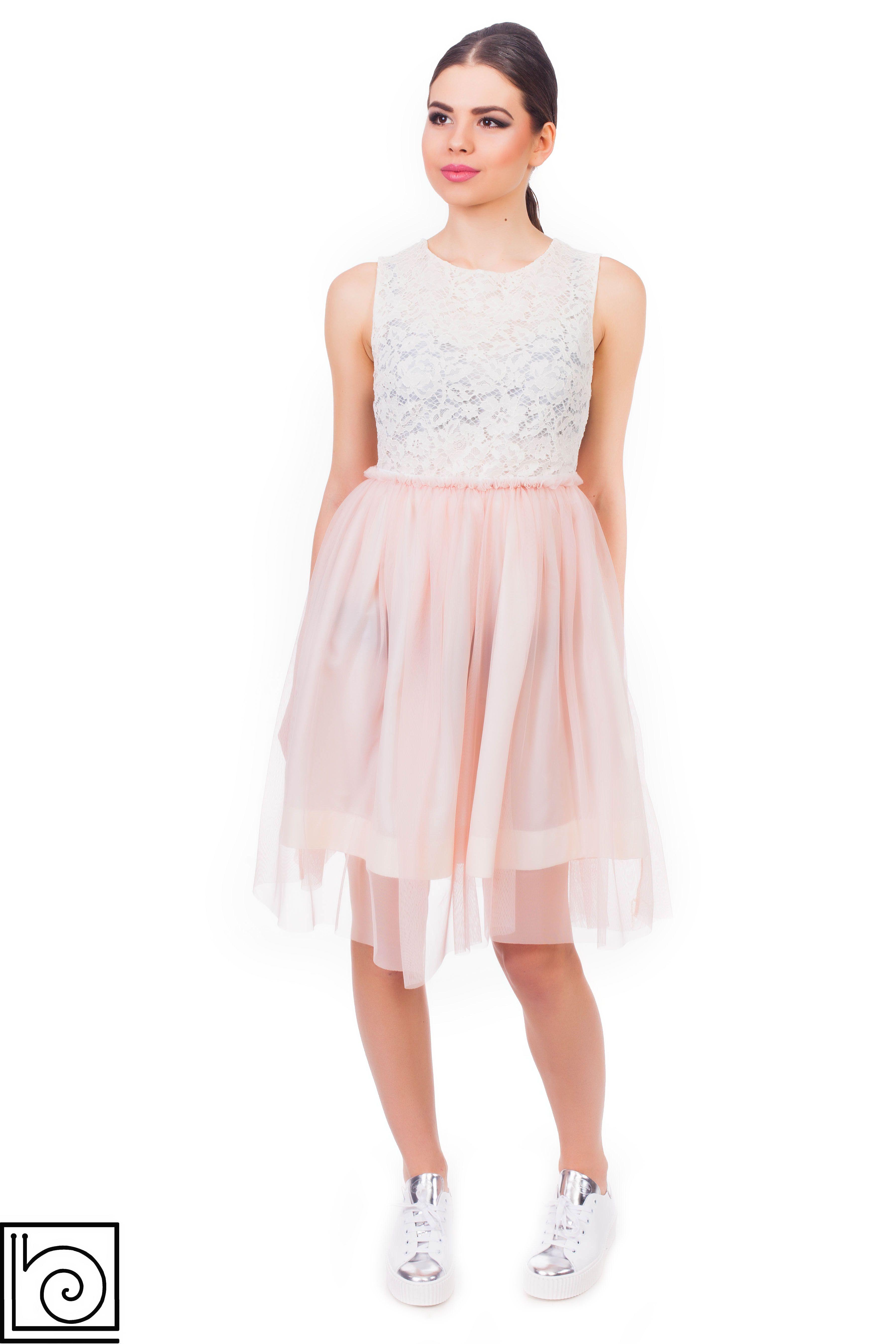 df1dc3246c4ae37 Платье нарядное. Топ кружевной бежевый без рукавов. На спинке молния. Юбка  из фатина, нежно-розового цвета, внизу подкладка.Marylay. Италия.