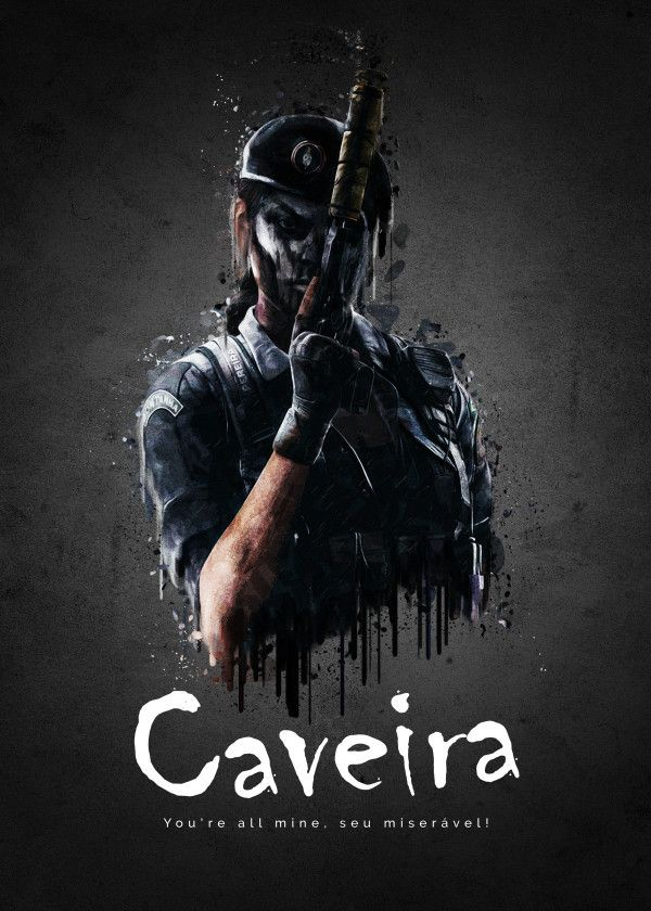 Rainbow Six Siege Characters Caveira Displate Artwork By Artist Traxim Part Of A 33 Piece Set Featuring Artwork Based On Characters From The Popular Populer