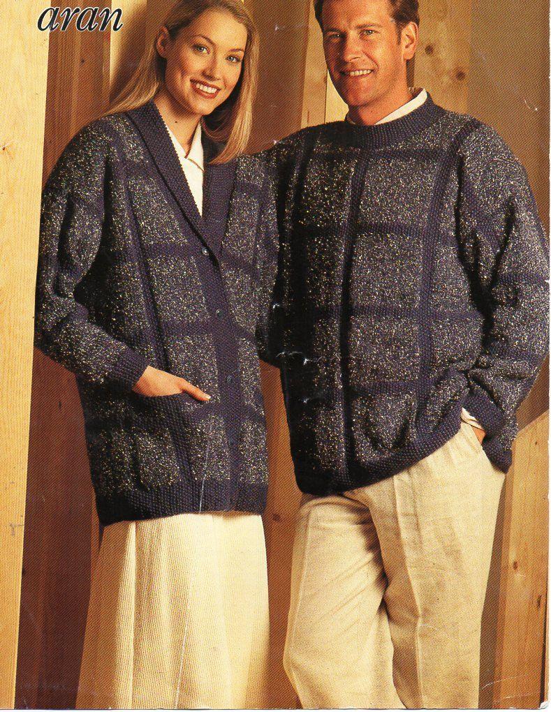 womens / mens patchwork cardigan sweater knitting pattern PDF ladies ...