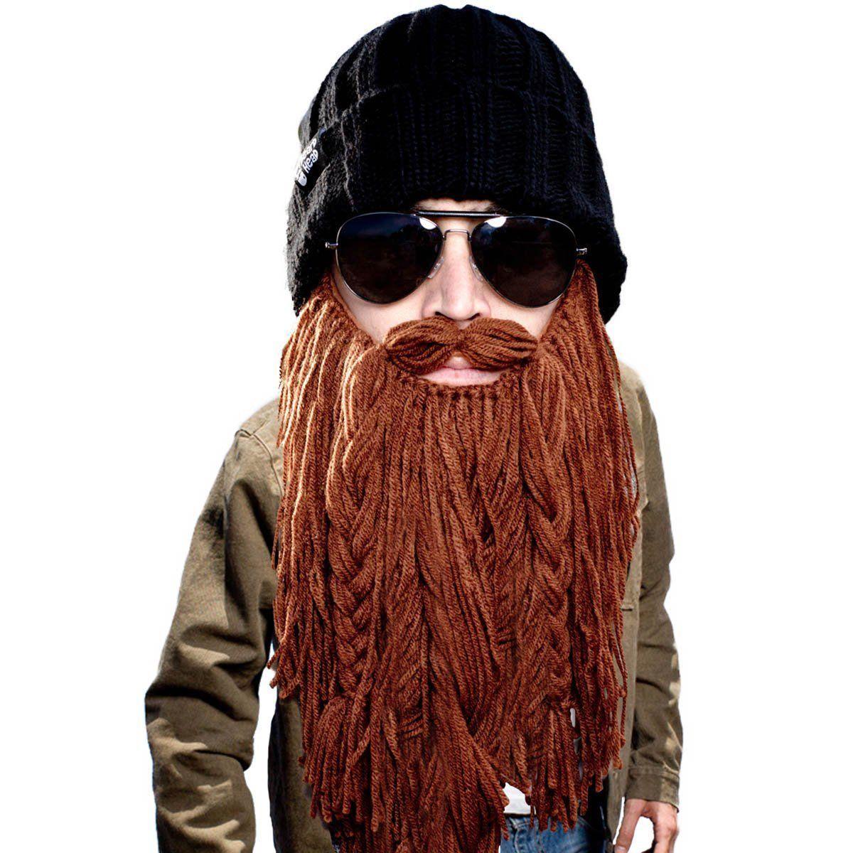 1d68ffd5f Winter Barbarian Roadie Beard Beanie Funny Knit Hat with Fake Beard ...