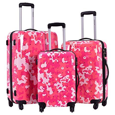Goplus GLOBALWAY 3 Pcs Luggage Travel Set Bag ABS PC Camouflage ...