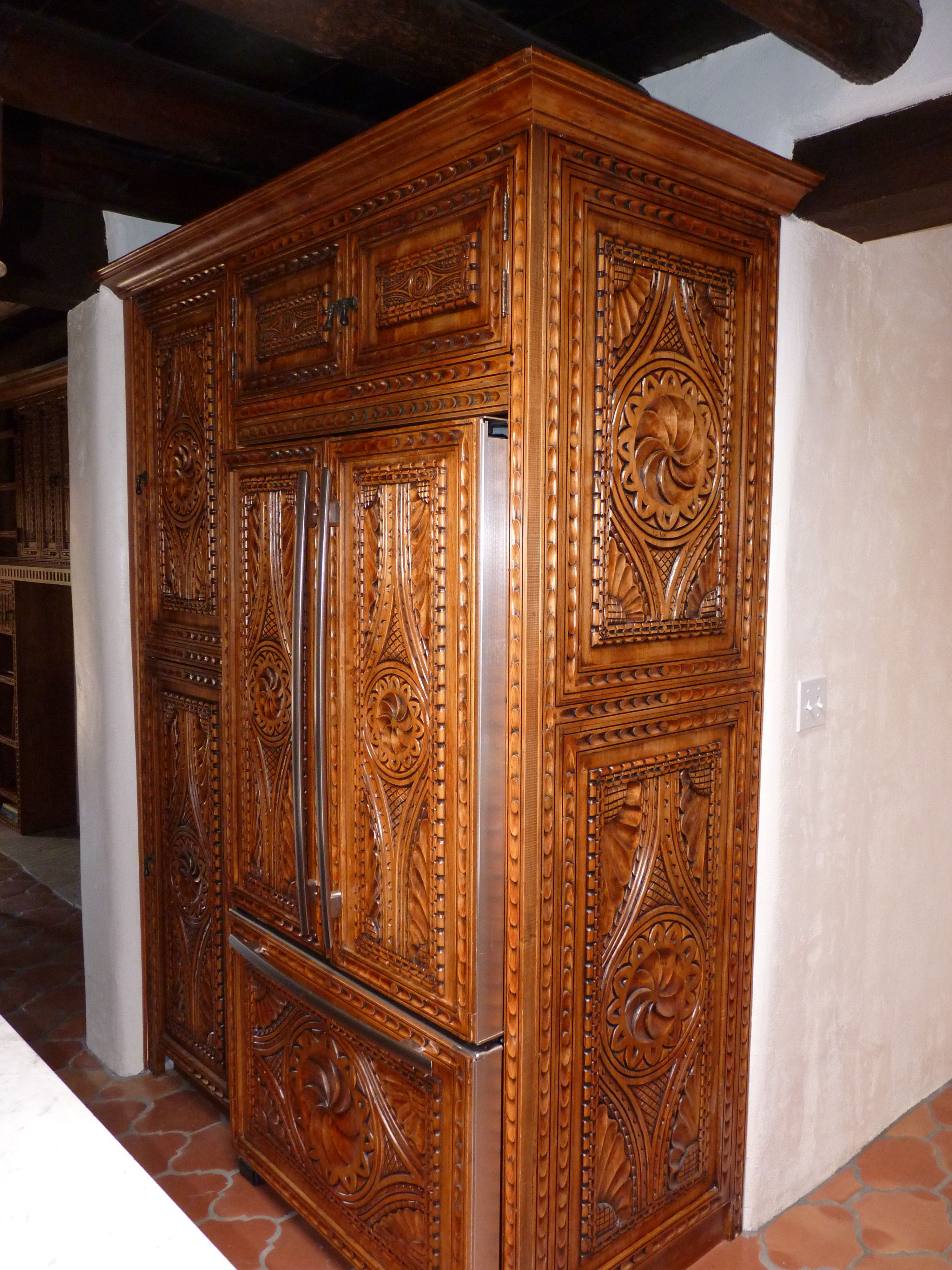 Carved Custom Cabinets ~ Spanish Colonial Style ~ Furniture Quality  Cabinetry Applied To Kitchen Pantry And
