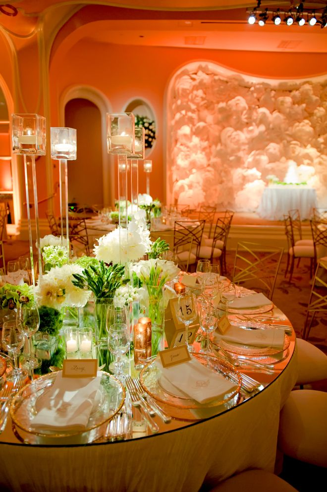 The candles, the flowers, the mirror top... just gorgeous ~ Photographer: Yvette Roman, Wedding Planner: Mindy Weiss, Floral Design: Marks Garden