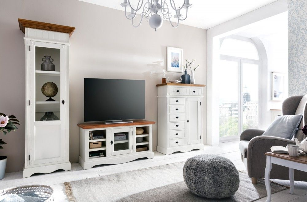 TV-Unterschrank Gotland - Pinie massiv - cremeweiß - gebeizt ...