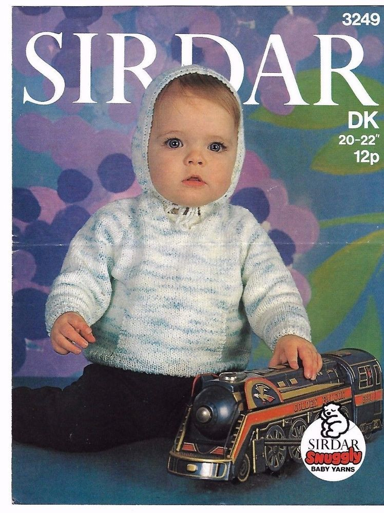512ff5749c64 Sirdar 3249 DK Vintage Knitting Pattern Baby Snuggly Hooded Sweater ...