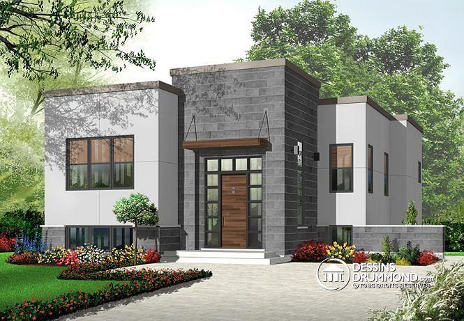 W3317 - Style maison contemporaine cubique abordable, salle séjour ...