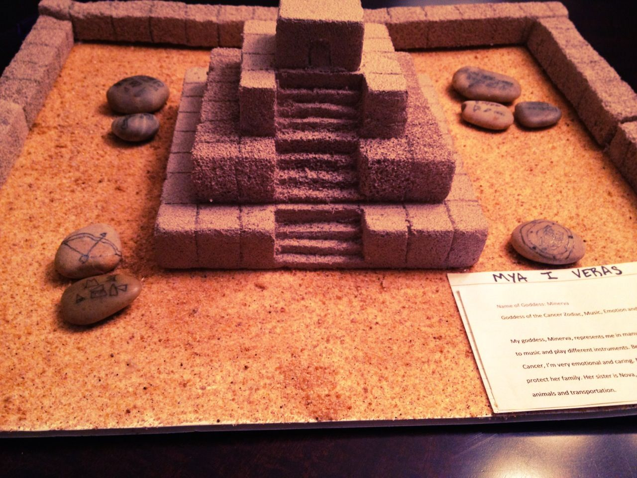Mya 39 s weekend school project ziggurat model made with for How to make paper temple
