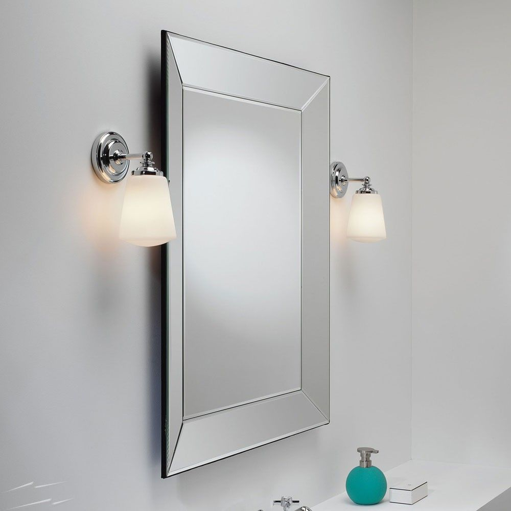 Anton Polished Chrome Bathroom Wall Light With Opal Glass Diffuser Ip44 Using E14 Ses Max 40w Astro 1106001 Wall Lights Glass Bathroom Glass Wall Lights