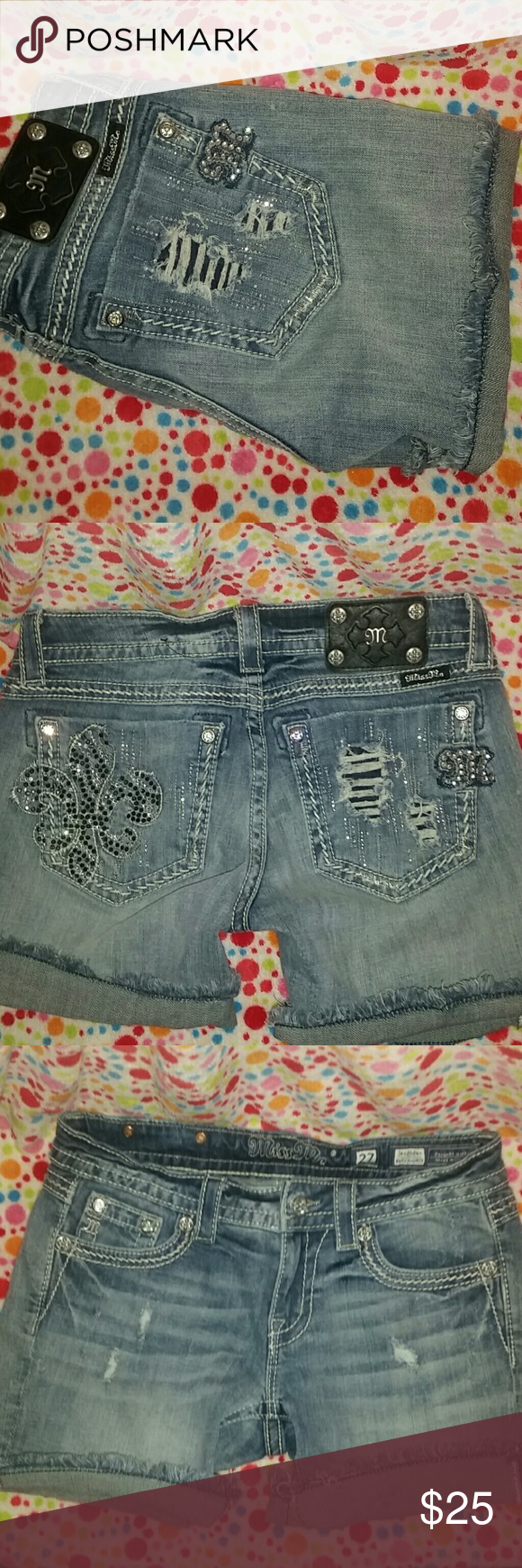 Miss Me shorts Very nice, distressed style Miss Me denim shorts. No unintentional flaws, just like new. Miss Me Shorts Jean Shorts