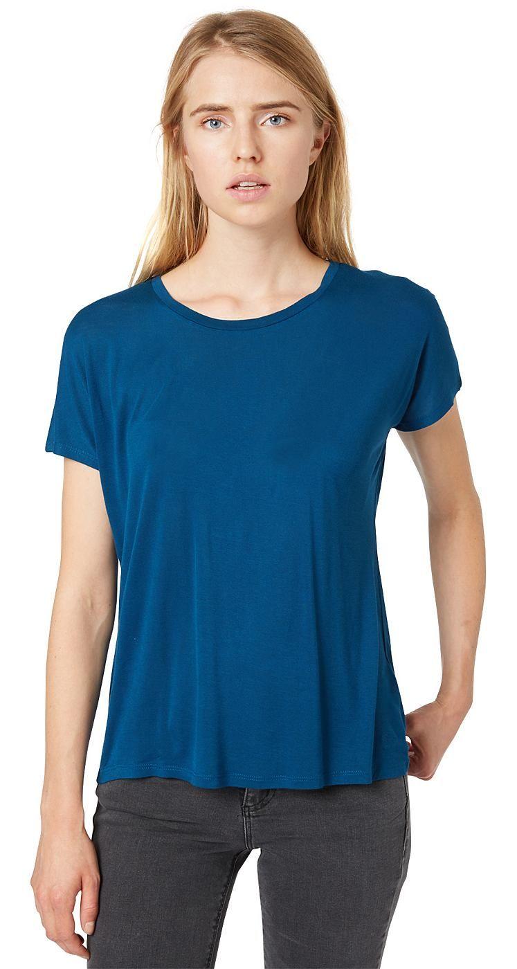 T-Shirt mit Spitzen-Einsatz für Frauen (unifarben, kurzärmlig mit Rundhals-Ausschnitt) aus Jersey, mit Spitzeneinsatz am Rücken in Dreiecks-Form, vertikale Teilungsnaht hinten. Material: 100 % Viskose...