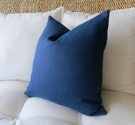 22X22 Pillow Insert Simple Navy Blue Linen Pillow Cover Solid Pillow Cover Euro Sham Pillow Decorating Design