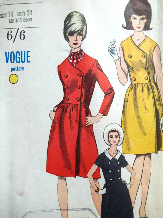 Vintage 1960s Vogue 6808 Rare Coat Dress Mod Sewing Pattern B 34 ...
